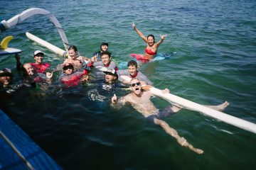 Surfers enjoying themselves at Sanur Surf Camp